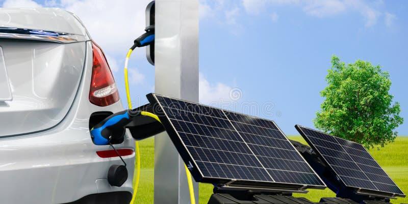 Voiture de voiture d'EV ou de courant ?lectrique et piles solaires pour l'?lectricit? photo libre de droits