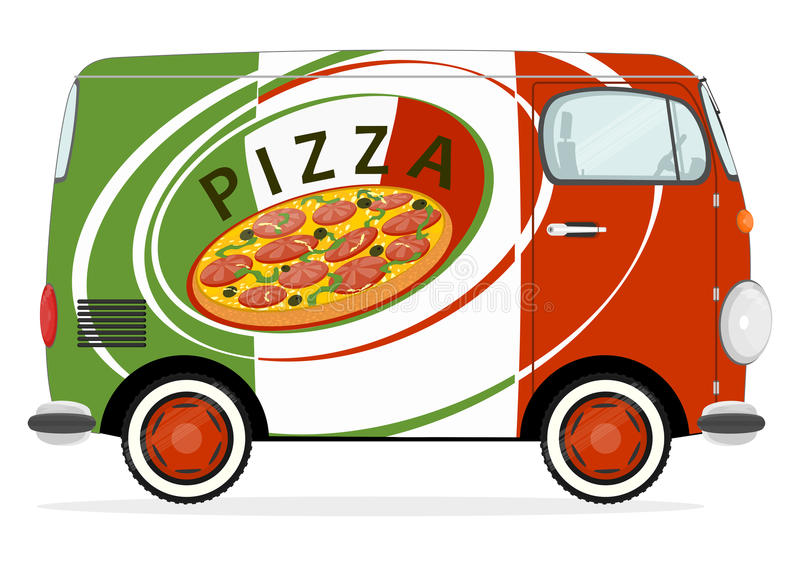 voiture de livraison de pizza illustration de vecteur illustration du repas plat 70203012. Black Bedroom Furniture Sets. Home Design Ideas