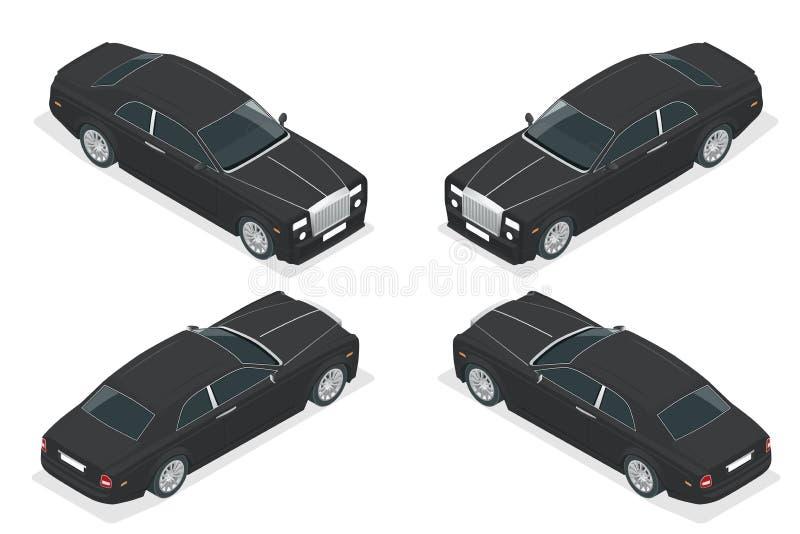 Voiture de luxe de VIP Vecteur isométrique représentant une flotte ou un transport de luxe de location de voiture illustration de vecteur