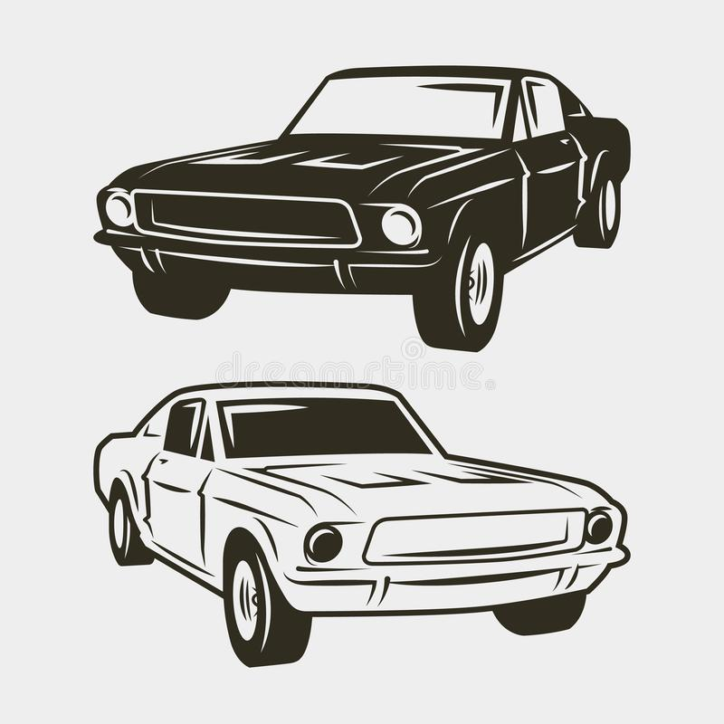 Voiture de muscle d'isolement sur le fond blanc Illustration de vecteur illustration stock