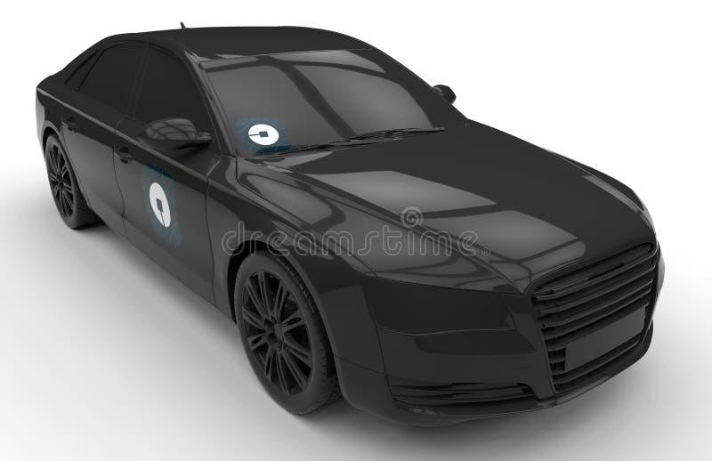 Voiture de noir du luxe UBER illustration stock