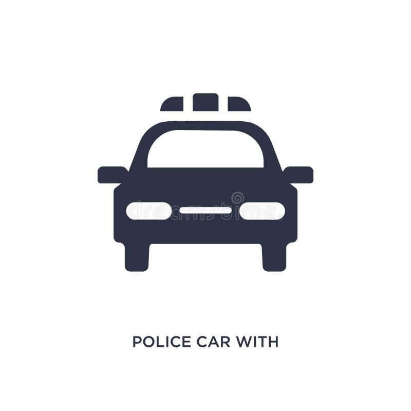 voiture de police avec l'icône de lumières sur le fond blanc Illustration simple d'élément de concept de mechanicons illustration stock