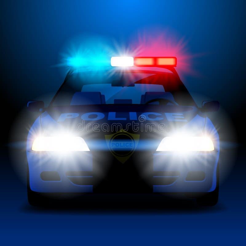 Voiture de police dans la nuit avec des lumières dans la vue frontale illustration stock
