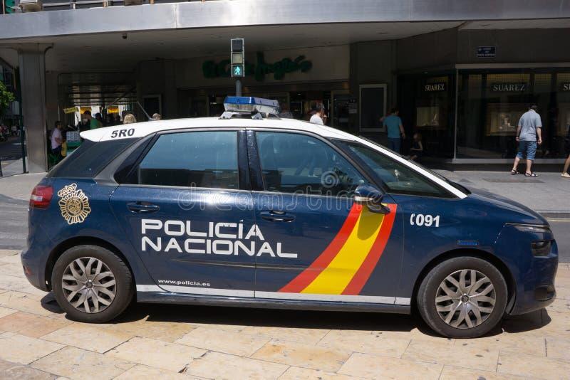 Voiture de police nationale de l'Espagne l'en public photo libre de droits