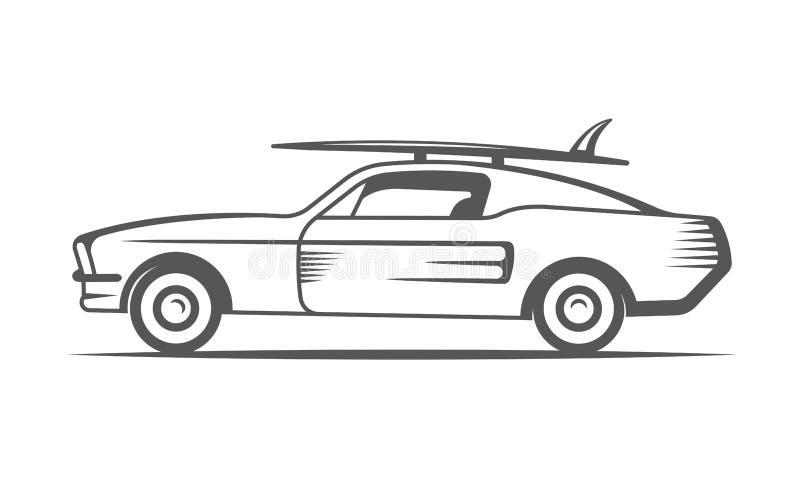 Voiture de ressac de vintage de vecteur illustration stock
