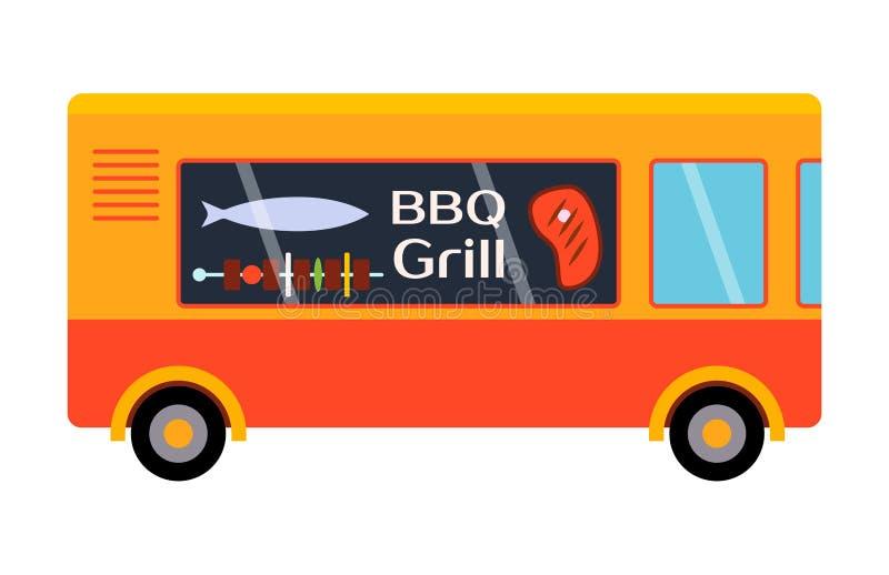 Voiture de restaurant de vecteur de remorque de gril de BBQ de festival de nourriture de rue illustration de vecteur