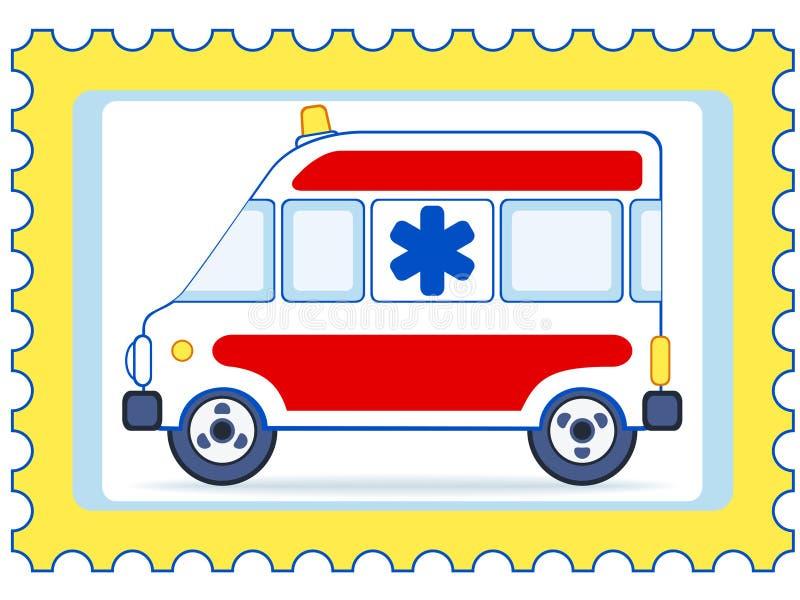 Timbre-poste d'ambulance illustration de vecteur