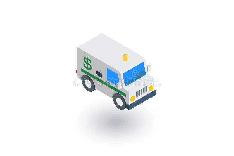 Voiture de service d'encaissement, fourgon de collecteur de banque, icône plate isométrique de la livraison d'argent vecteur 3d illustration de vecteur