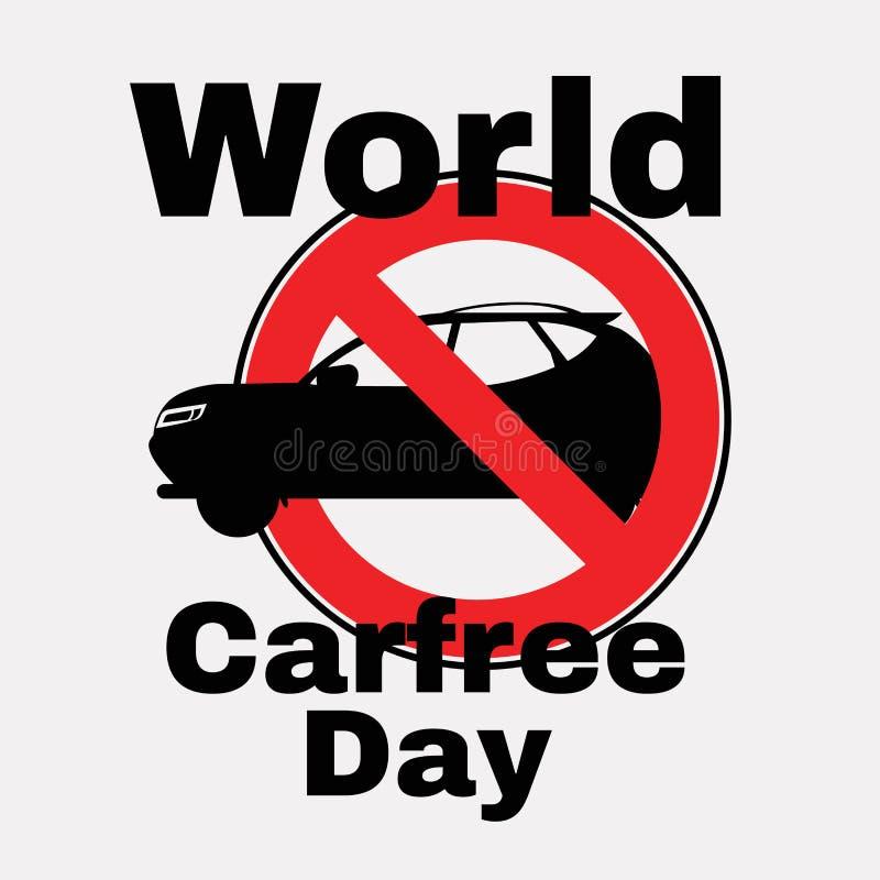 Voiture de silhouette et signe rouge d'interdiction Jour sans voiture Signe mena?ant Silhouette graphisme croquis Symbole signe V illustration de vecteur