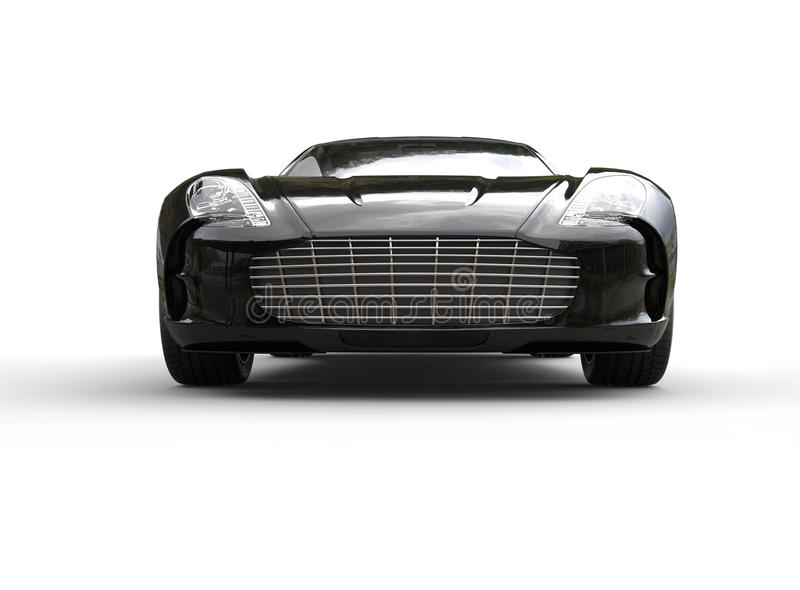 voiture de sport de luxe noire sur le fond blanc front view illustration stock illustration du. Black Bedroom Furniture Sets. Home Design Ideas
