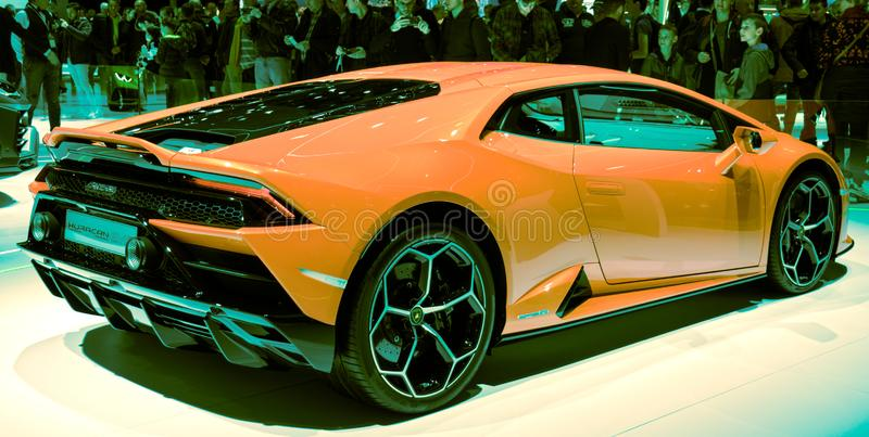 Voiture de sport 2019 huracan de Lamborghini de Salon de l'Automobile de Genève images stock