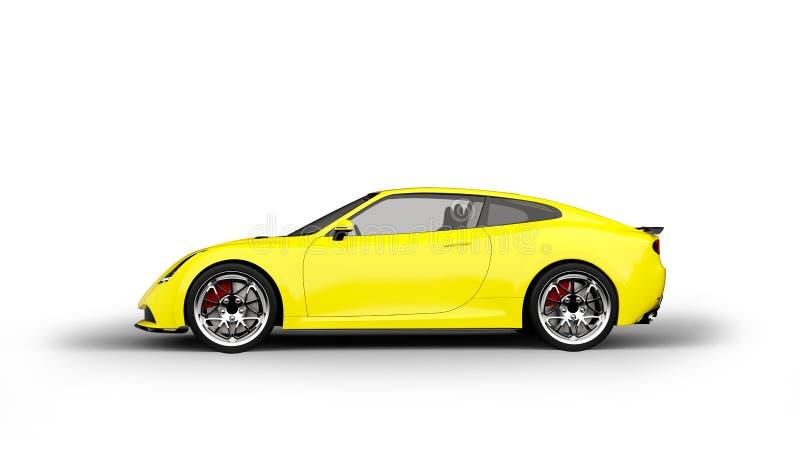 Voiture de sport jaune d'isolement sur le fond blanc illustration de vecteur