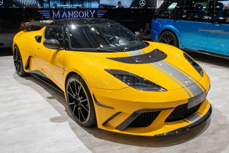 Voiture de sport 2019 de Mansory Lotus Evora de GTE finale à fuselage large d'édition image stock