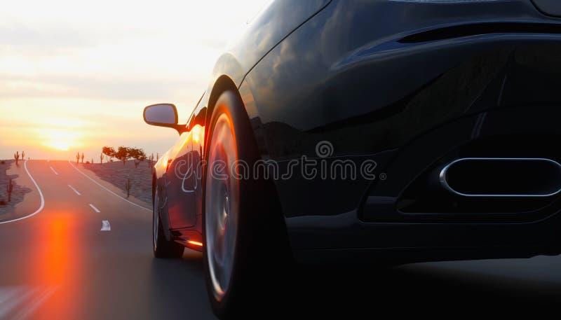 Voiture de sport noire sur la route, route Entraînement très rapide rendu 3d illustration libre de droits