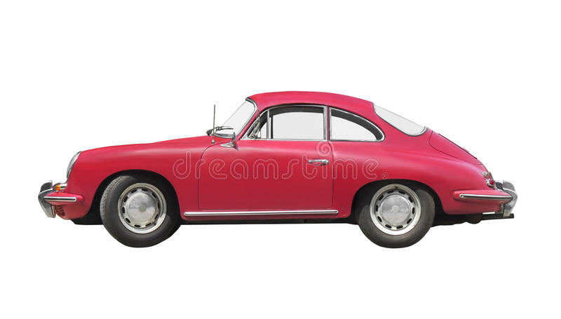 Voiture de sport rouge de vintage d'isolement images stock