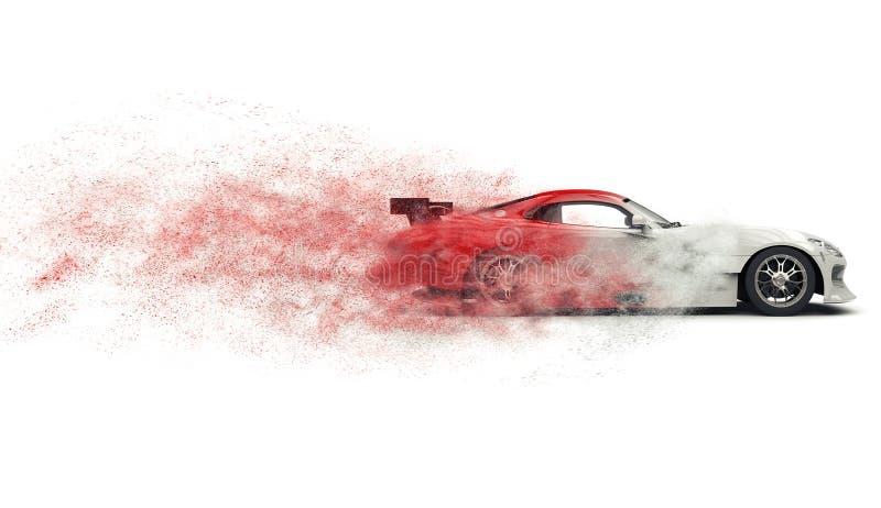Voiture de sport superbe se désagrégeant dans la poussière rouge et blanche illustration stock