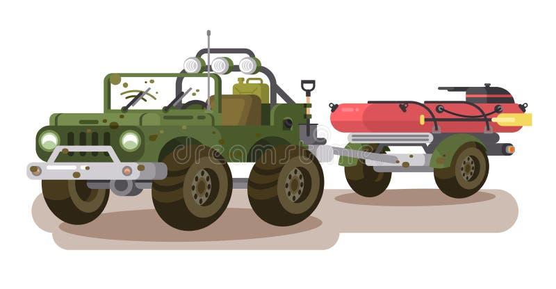 Voiture de SUV avec le bateau de remorque illustration de vecteur