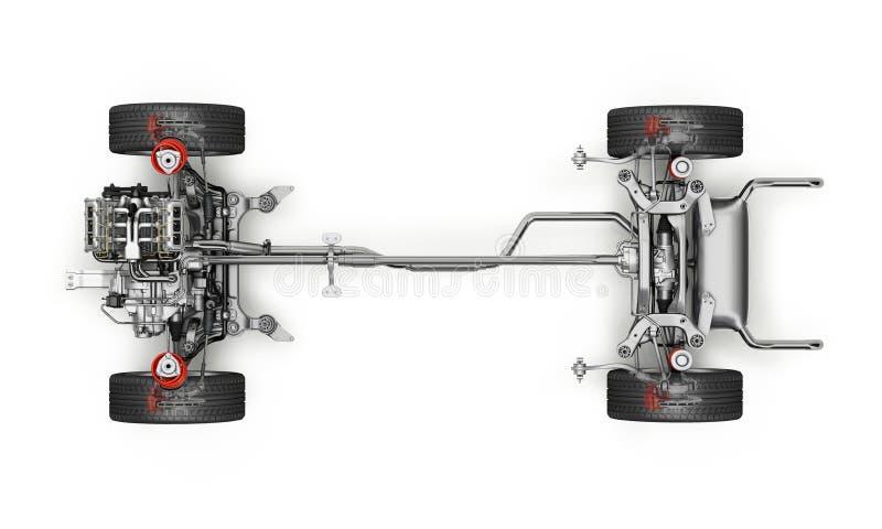 Voiture de SUV sous le rendu technique du chariot 3 D Vue supérieure illustration stock