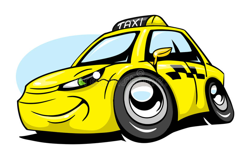 Voiture de taxi de bande dessinée illustration stock