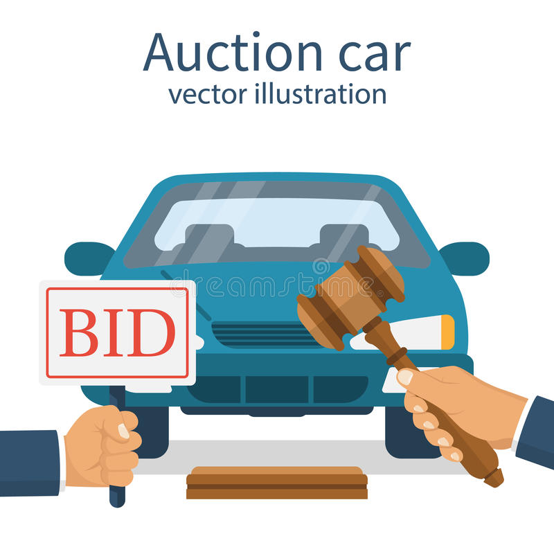 Voiture de vente aux enchères Offre du concept illustration stock