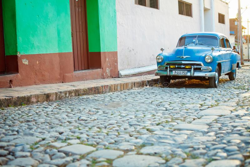 Voiture de vintage au Trinidad, Cuba images libres de droits