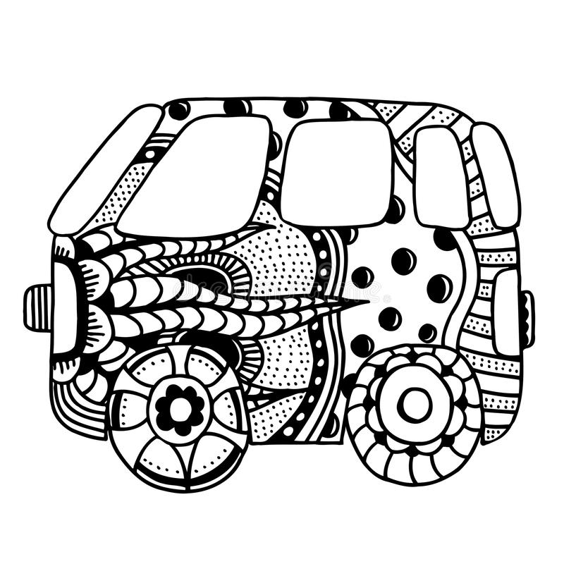 Voiture de vintage un mini fourgon illustration libre de droits