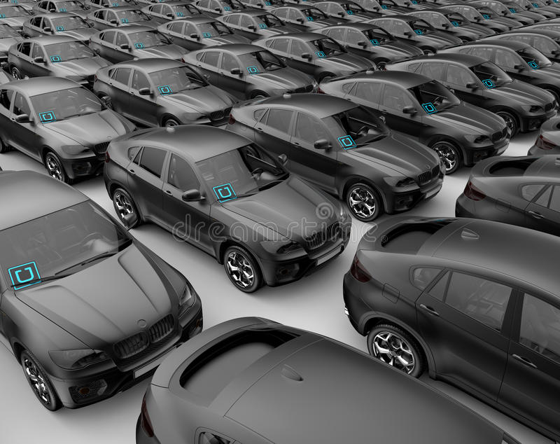 Voiture de voitures d'Uber prête à augmenter des affaires photographie stock