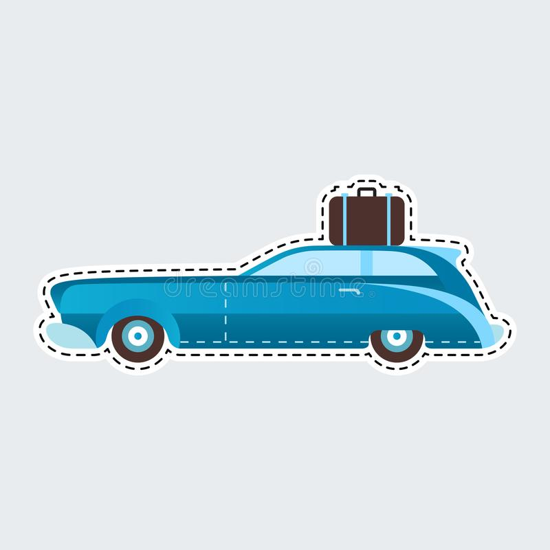 Voiture de voyage de vintage dans le style de correction Clipart (images graphiques) pour l'autocollant ou la goupille illustration libre de droits
