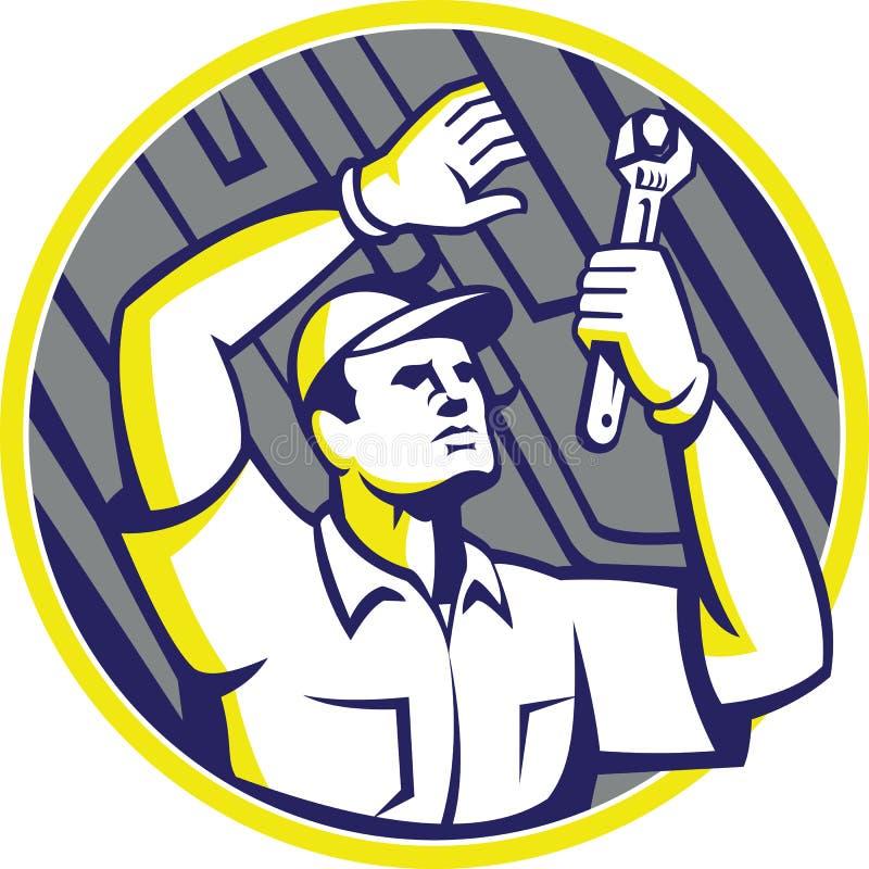 Voiture de Wrench Under Chassis de mécanicien automobile illustration stock