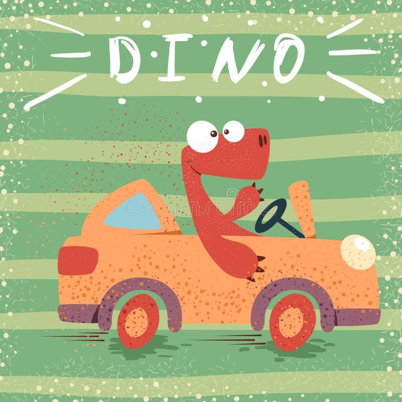 Voiture drôle d'entraînement mignon de Dino illustration de vecteur