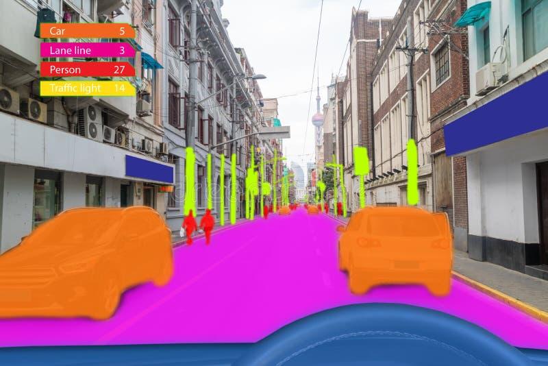 Voiture Driverless des véhicules à moteur intelligente d'Iot avec le cartel d'intelligence artificielle avec la technique d'appre photographie stock libre de droits