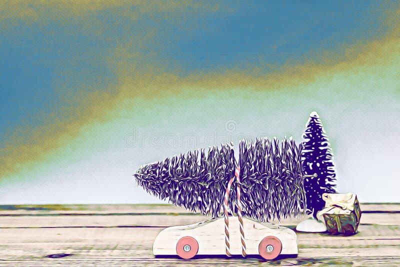 Voiture en bois avec l'arbre de Noël et boîte-cadeau sur le dessus de table numérique illustration stock