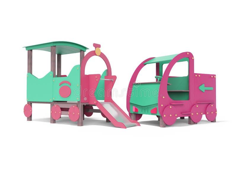 Voiture et aire de jeux pour enfants turquoise avec vue sur la perspective 3d rendu sur fond blanc avec ombre illustration libre de droits