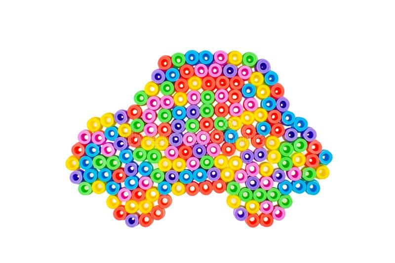 Voiture fabriquée à partir de les perles colorées images libres de droits