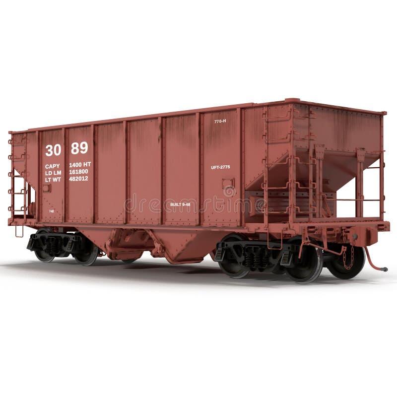 Voiture ferroviaire de trémie sur l'illustration 3D blanche illustration stock