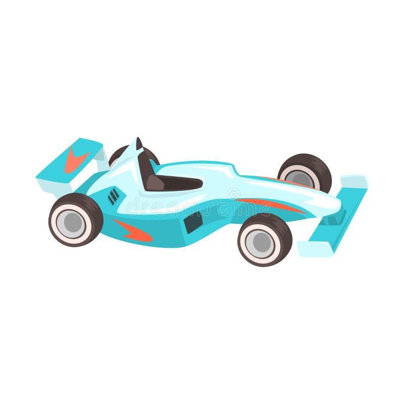 Voiture folâtre bleue de Formule 1, emballant la pièce relative d'objets de l'ensemble d'illustration d'attribut de coureur illustration libre de droits