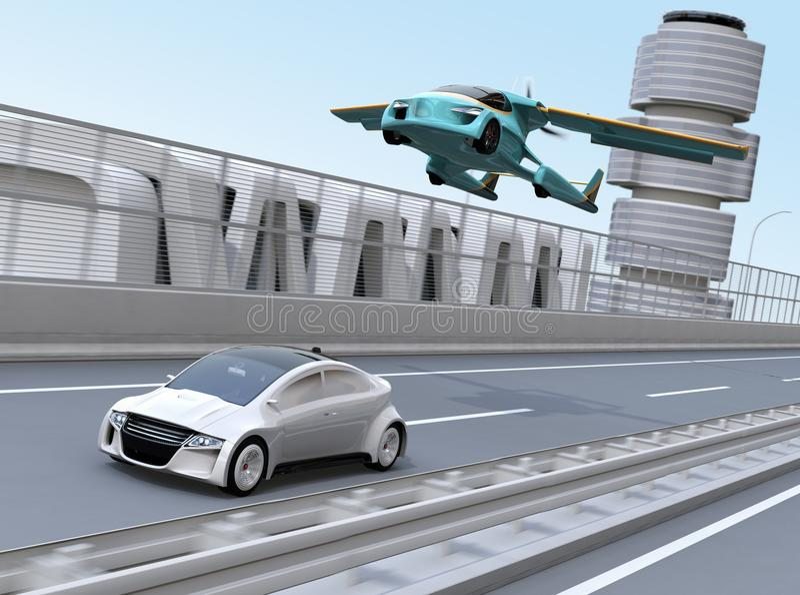 Voiture futuriste de vol volant au-dessus d'une berline argentée conduisant sur la route illustration stock