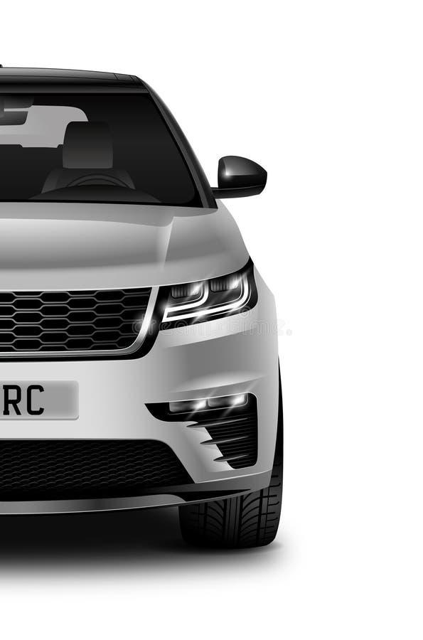 Voiture générique métallique blanche de SUV sur le fond noir demi Front View illustration de vecteur