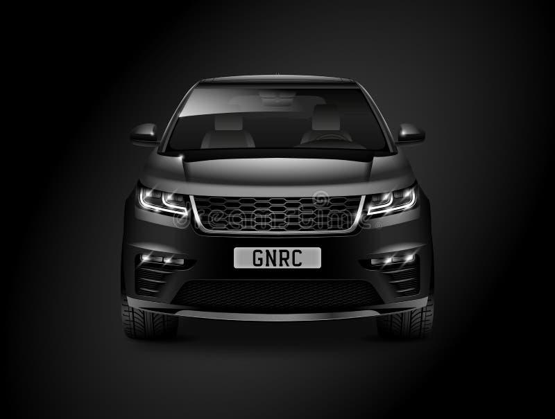 Voiture générique métallique noire de SUV sur le fond noir Front View With Isolated Path illustration de vecteur