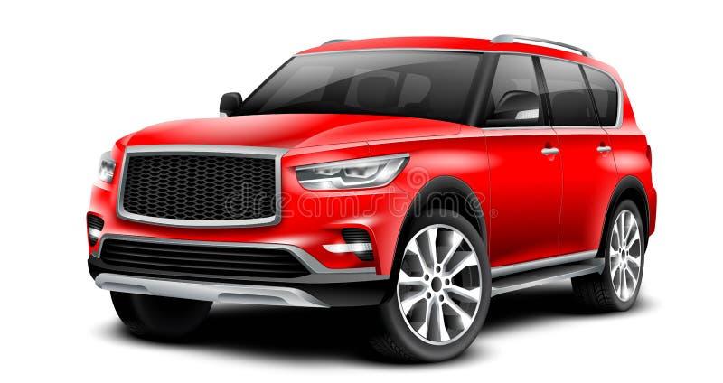 Voiture générique rouge de SUV avec la surface brillante sur le fond blanc avec le chemin d'isolement illustration stock