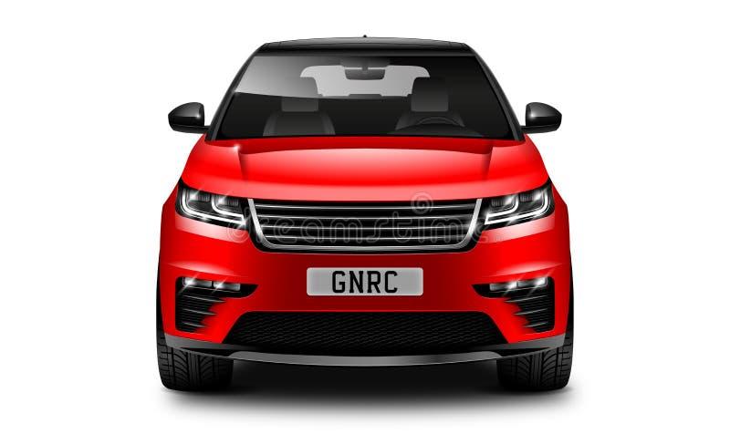 Voiture générique rouge de SUV sur le fond blanc Front View With Isolated Path illustration libre de droits