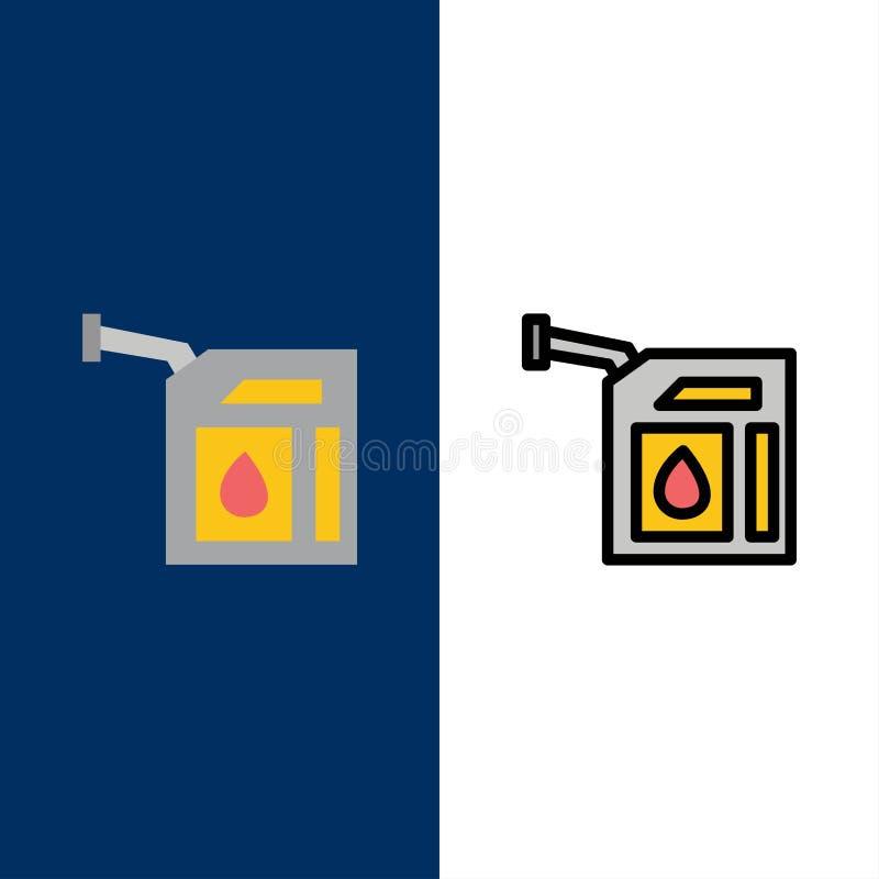 Voiture, gaz, essence, icônes de station L'appartement et la ligne icône remplie ont placé le fond bleu de vecteur illustration de vecteur