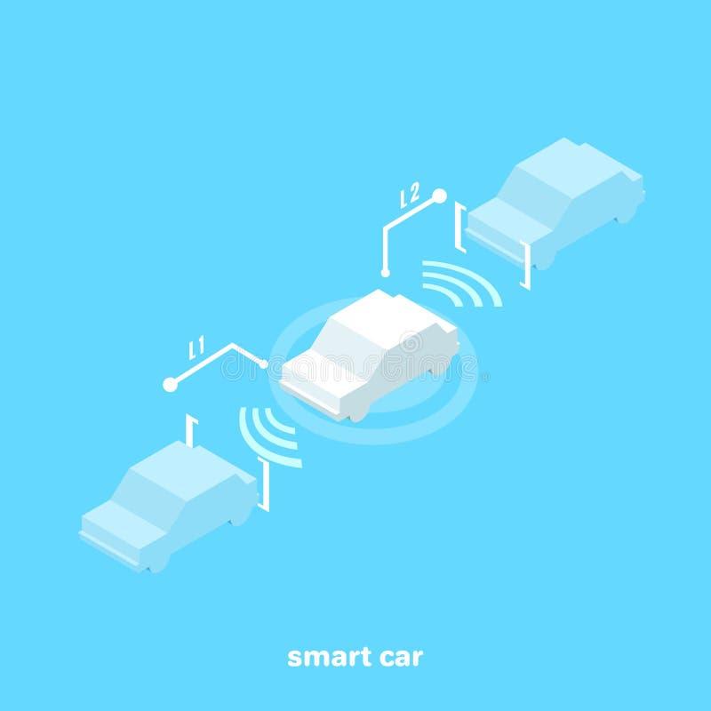 Voiture intelligente avec des capteurs pour une distance de sécurité tout en conduisant illustration stock