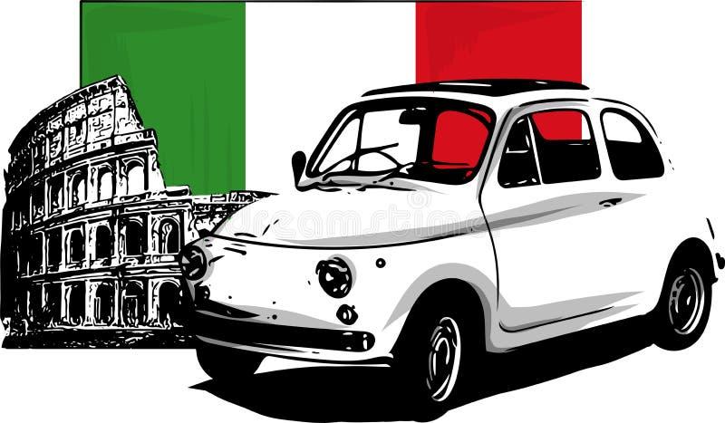 voiture italienne du vintage 60s d'isolement sur le fond blanc illustration libre de droits