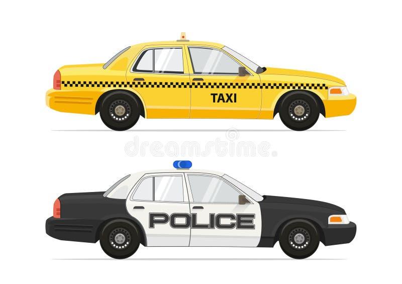 Voiture jaune de la cabine NYC de taxi Shérif Security Car de police D'isolement sur les voitures blanches de fond placez Illustr illustration stock