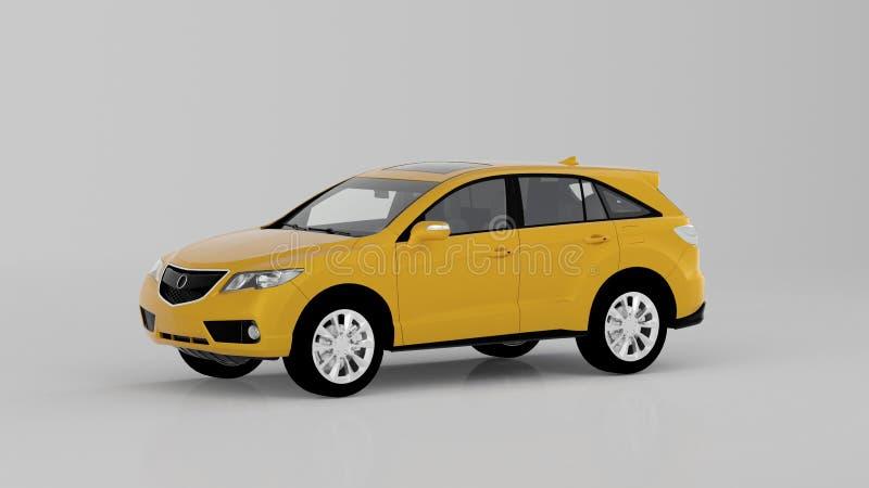 Voiture jaune générique de SUV d'isolement sur le fond blanc, vue de face photos libres de droits