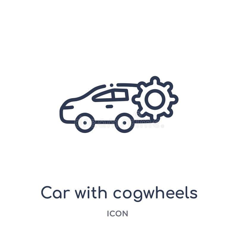 Voiture linéaire avec l'icône de roues dentées de la collection d'ensemble de Mechanicons Ligne mince voiture avec l'icône de rou illustration stock