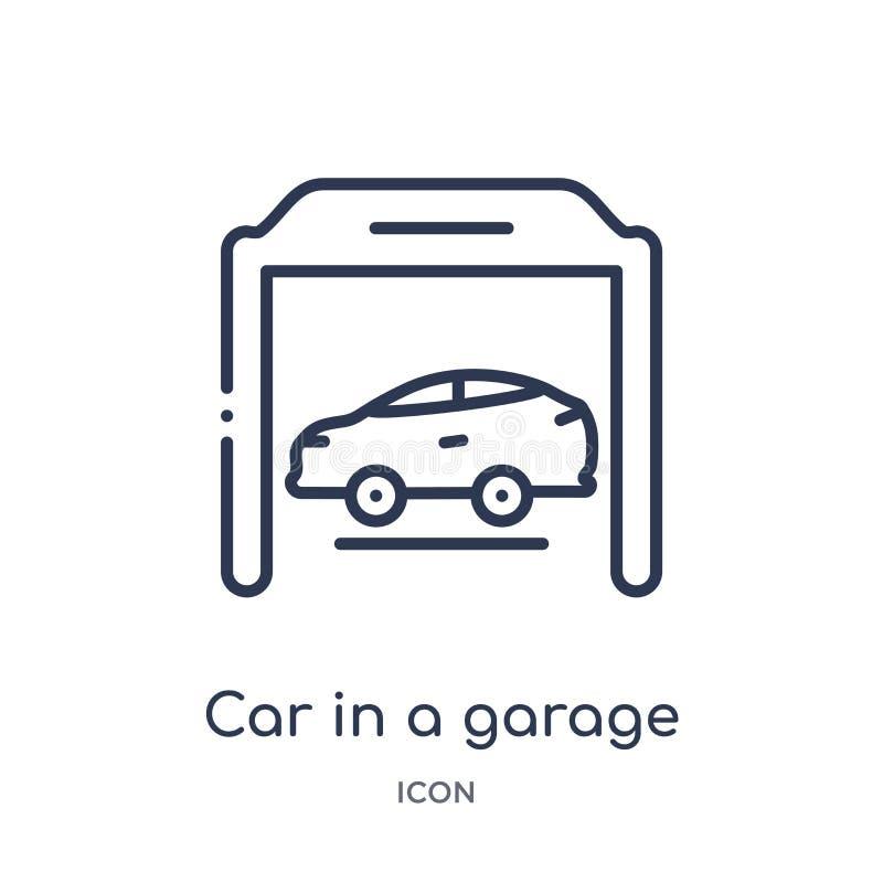 Voiture linéaire dans une icône de garage de collection d'ensemble de Mechanicons Ligne mince voiture dans une icône de garage d' illustration stock