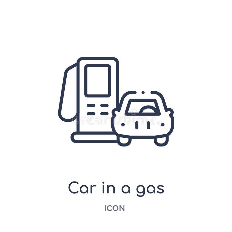 Voiture linéaire dans une icône de station service de collection d'ensemble de Mechanicons Ligne mince voiture dans une icône de  illustration de vecteur