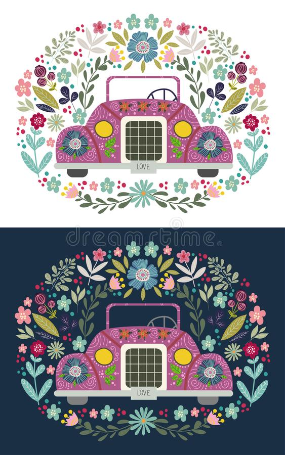 Voiture mignonne de bande dessinée avec éléments et modèles floraux folkloriques Griffonnage plat tiré par la main illustration stock